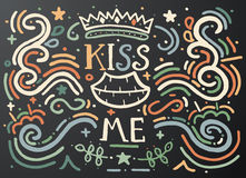 Kiss me. Hand drawn vintage print with decorative outline text. Royalty Free Stock Image