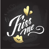 'kiss me' hand lettering - hand made calligraphy Stock Photos