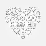 Kiss me heart vector outline illustration. Kiss me heart vector illustration or symbol in thin line style royalty free illustration