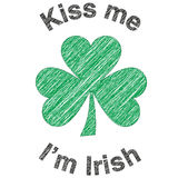 Kiss me I am Irish Shamrock. An Illustration of Kiss me I am Irish and shamrock symbol of Ireland and Saint Patrick. Ideal for St Patrick day at 17th of march royalty free illustration