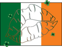 Kiss Me I'm Irish Flag. Lip outline on Irish flag with four shamrocks vector illustration
