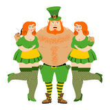 Kiss me I`m Irish. Leprechaun and beautiful girls. tough guy wit. H red beard. Cool Irish pipe and clover. Happy St.Patrick `s Day. Holiday in Ireland Royalty Free Stock Image