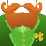 Kiss me,im Irish.Saint Patrick Day character leprechaun with green suit,red beard, and no face.Background for posters Stock Photo