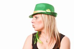 Kiss Me Irish St. Patrick`s Day. A lady kissing on St. Patrick`s Day isolated on white Stock Images