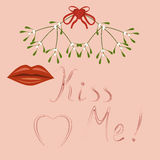 Kiss Me, lips and mistletoe Royalty Free Stock Photography