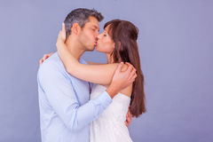 Kiss me. Lovely couple kissing valentine day Royalty Free Stock Photos