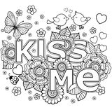Kiss me. abstract background made of flowers, butterflies, birds kissing and the word love. Coloring page for adult. Flowers, butterflies, birds kissing and the vector illustration