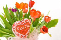 Kiss me tulips Stock Image