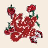 Kiss me. Vector handwritten lettering isolated made in 90`s style with illustrations. Template for card, poster, banner, print for t-shirt, pin and badge Royalty Free Stock Photo