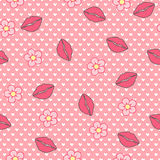 Kiss me. Vector seamless pattern, abstract background made of lips and flowers Royalty Free Stock Photography
