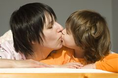 Kiss in morning Stock Images