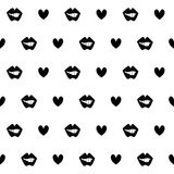 Kiss mouth black seamless pattern vector illustration