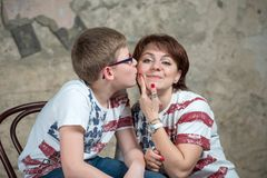 Kiss my mother on the cheek Stock Images