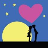 Kiss at night Stock Photos