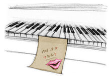 Kiss in note pad memo stick on piano. Kiss in note pat memo stick on piano for daring, Hand drawn rough sketch design art style isolate for your background Royalty Free Stock Images