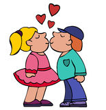 Kiss Of Boy And Girl With Red Hearts Above Stock Photos