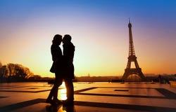 Kiss in Paris. Dream honeymoon in Paris, romantic couple silhouette royalty free stock photo