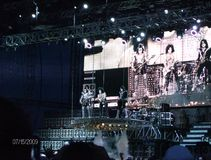 Kiss. Paul Stanley, Gene Simmons, Tommy Thayer & Eric Singer performing live at Ottawa Bluesfest. This photo was taken by my daughter who was 11 at the time Royalty Free Stock Photography