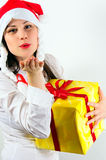 Kiss and a present Stock Photos
