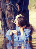 Kiss of pretty girl to yours  horse Royalty Free Stock Photos