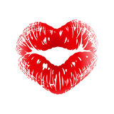 Kiss Print In The Shape Of Heart Stock Photos