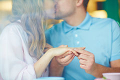 Kiss after proposal Stock Photography