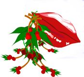 Kiss quick. Red lips with mistletoe secluded on white Stock Photo