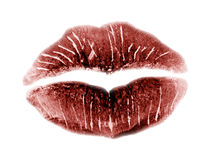 Kiss, red lips. Red lips as a symbol for love Royalty Free Stock Photography