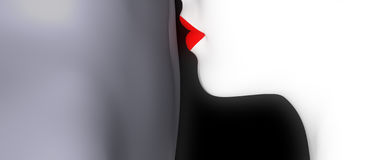 Kiss. Red Lips kissing black man on the navel Royalty Free Stock Photography