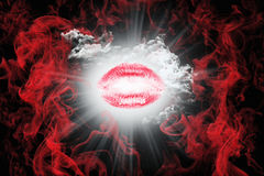 Kiss With Red Smoke and White Fluffy Clouds. Valentine`s Day Con Stock Images