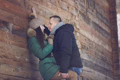 Kiss on Romantic Winter Walk Stock Images