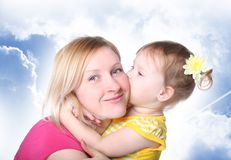 Kiss in sky Stock Images