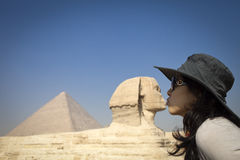 Kiss SPHINX AND PYRAMID. Kiss, Pyramid and Sphinx in Cairo Giza - Egypt stock image
