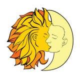 Kiss sun and moon. Mythology kiss sun and moon stock illustration