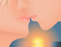 Kiss in the sunset Royalty Free Stock Images