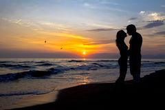 A kiss at the sunset Stock Photography