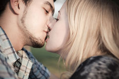 Kiss with a surprise Royalty Free Stock Photos