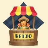 Kiss Tent Pretty Girl - Brazilian June Festl Royalty Free Stock Image