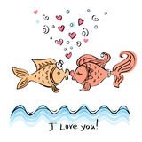 Kiss of two fishes drawing Stock Photos