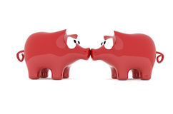Kiss of two piggy bank, 3d image Stock Image