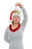 Kiss under the mistletoe Royalty Free Stock Photos