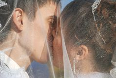 Kiss under vail. Bride is kissing a bridegroom Stock Photo