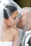 Kiss under Veil stock photography