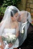 Kiss under Veil. Bride and Groom kiss under the wedding veil. Soft filter affect Stock Photos