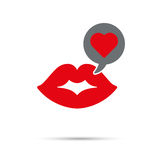 Kiss on Valentines Day Icon. Kiss Icon for Valentine's Day. Chat bubble with red heart coming from female lips Royalty Free Stock Photo