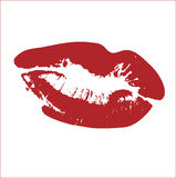KISS VECTOR. LIPSTICK RED DESIGN ELEMENTS - CHANGE COLOR IF YOU WANT Stock Photos
