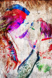 The Kiss. Water color from photograph of couple in a passionate kiss Royalty Free Stock Photography