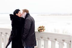 Kiss in winter Royalty Free Stock Photo