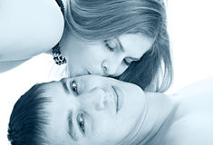 Kiss woman Royalty Free Stock Images