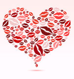 Kiss You. Kiss lips collect to one heart Stock Photography